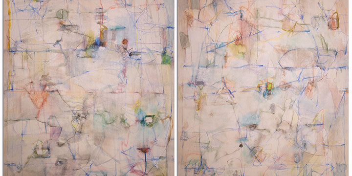"""Larry Roots, Speed of Line No. 1 & 2, 2019, 30 × 48"""" (diptych)"""