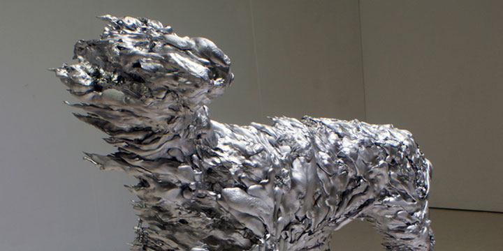 Sarah Lemmon, Impact no. 2 (dog), cast aluminum, hardware cloth, 2011
