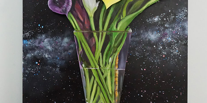 Bob Culver, Lilies and the Milky Way, mixed media, oil, acrylic on MDF, 2019