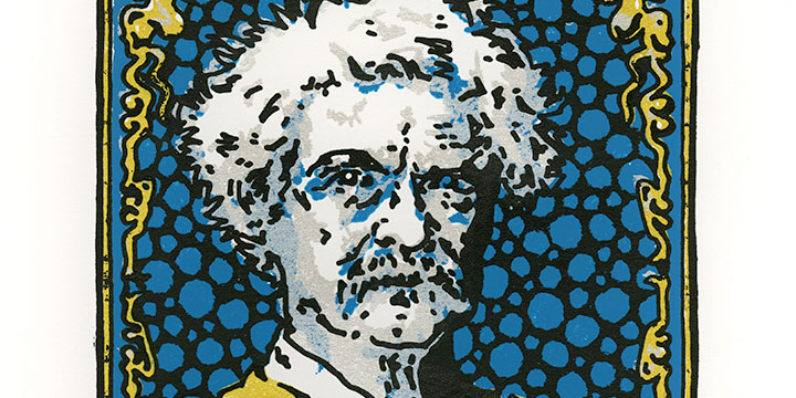 Bart Vargas, Mark Twain (Offiicial Pomotional Image for Joslyn Castle's 10th Annual Art & Literary Festival), hand pulled screen print, 2019, 14 × 11