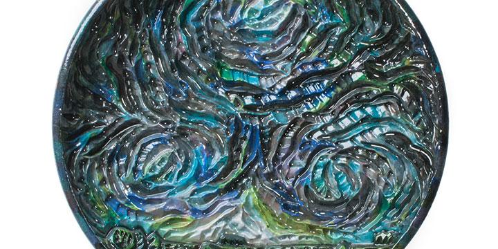 Eddie Dominguez, Night Sky, ceramic - platter, n.d., 3 × 22