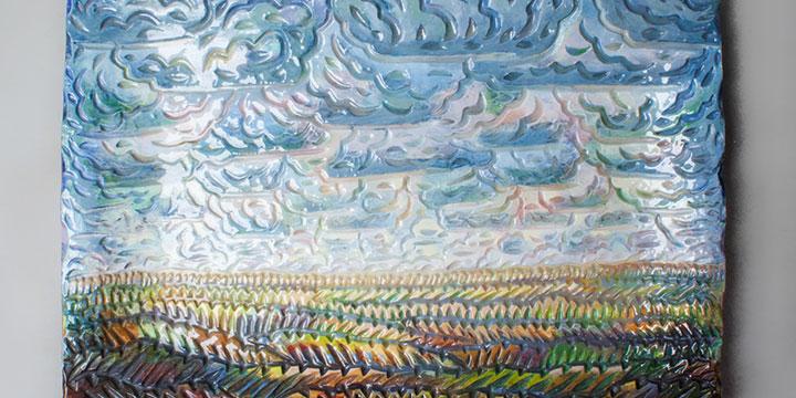 Eddie Dominguez, Rain Cloud, ceramic, 2019, 18 × 24 × 4