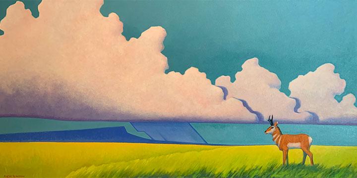 Martha Pettigrew, Storm Over Blue Mesa, oil, 2018, 25 × 49