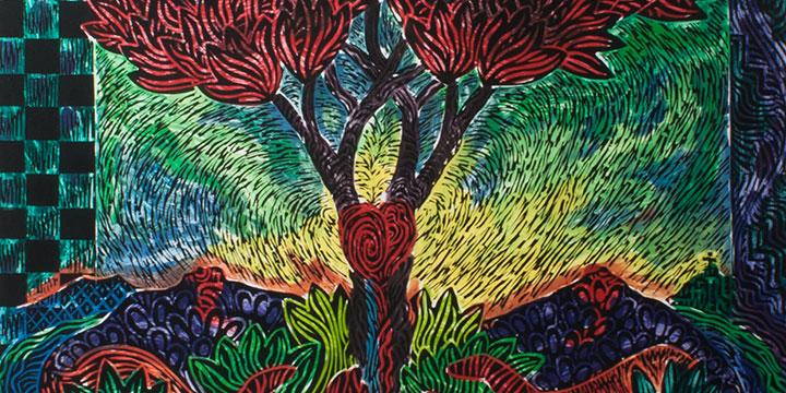 Eddie Dominguez, Tree of Life, woodcut print, 1993, 31 × 39