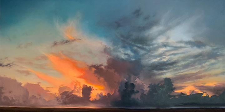 Jennifer Homan, Three Sister Skies, pastel on panel, 2019, 34 × 64