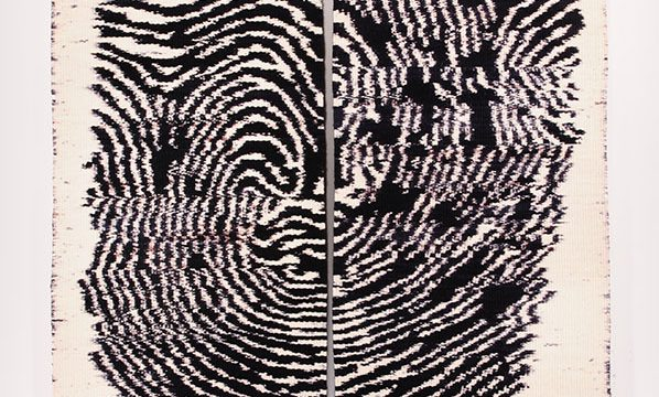 Mary Zicafoose, Blue Print #3, tapestry diptych, weft faced ikat, 2008, 76 × 48