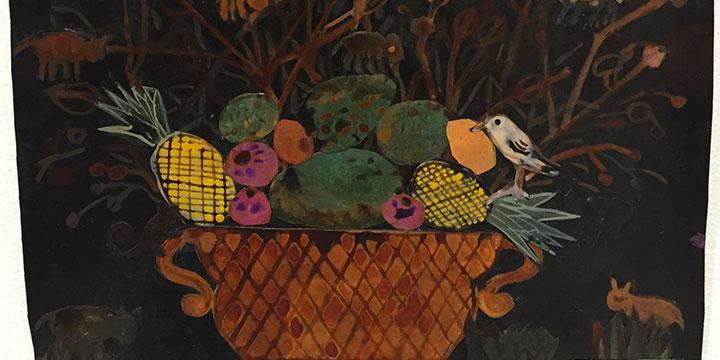 Nancy Friedemann-Sanchez, Small Cornucopia with Monkeys, ink on Tyvek, 2019