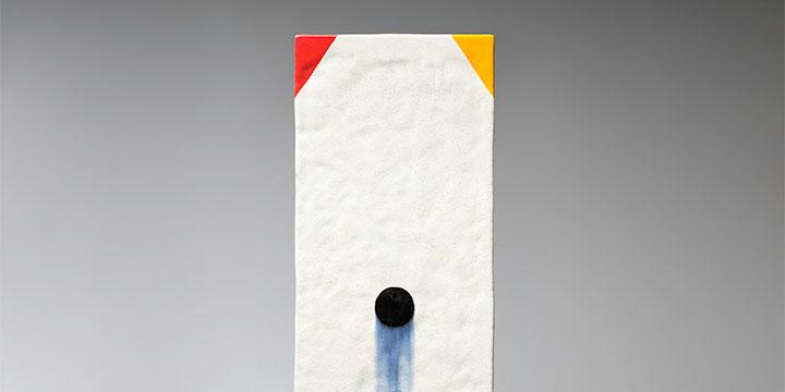 Jun Kaneko, Untitled, glazed ceramic, 2018, 45 × 11 × 2¾