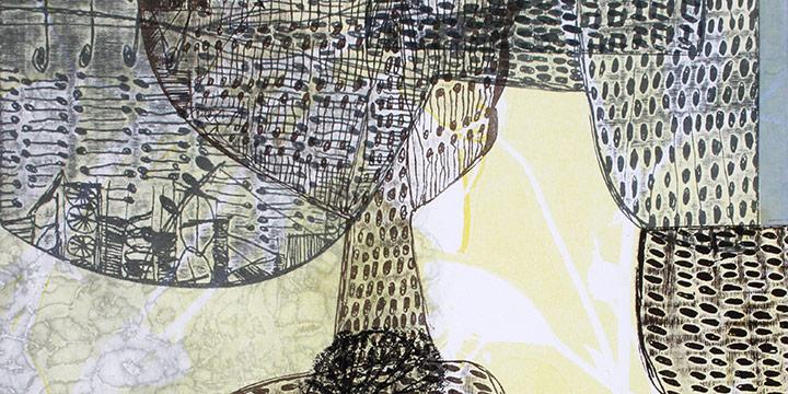 "Eva Isaksen, Nebraska October, monoprint, woodblock, collage (edition of 30), 2017, 22½ × 15"""