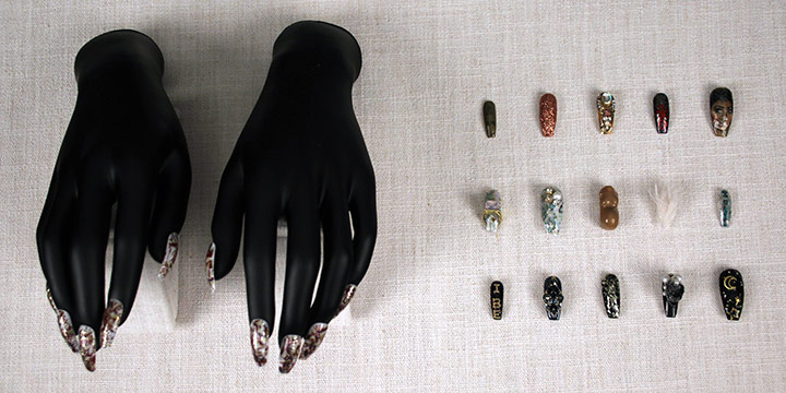 """Imagine Uhlenbrock, This is Imagine, 25 acrylic nails with crystal, nail enamel, plastic, synthetic fur, 2018, 1 × ½"""""""