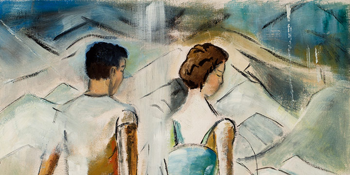 Ann C. di Natale, Untitled (two figures on beach), oil on board, n.d., 20 × 16""