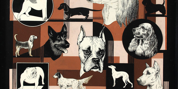 Hortense Hagen, Untitled (collection of dogs), collage: ink, tempera, n.d., 16 × 20""