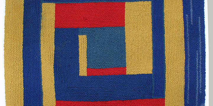 """Dorothy Grebenak, Blue, Red, Yellow (abstract), hand-knotted wool, n.d., 35½ × 31½"""""""