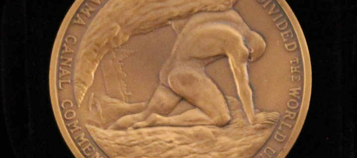 Barbara Hyde, Panama Canal Commemoration, The Land Divided The World United 1904-1979, bronze medal, 1996
