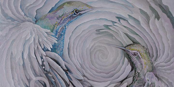 Christy Kosmicki, Dancing Hummers, painting, n.d.