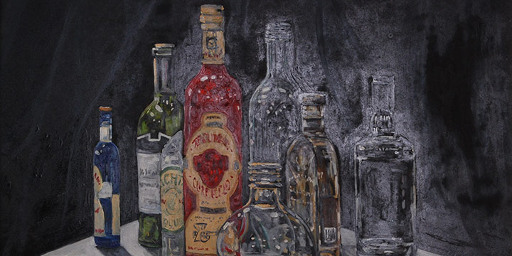 Doug Waterfield, Still Life with Glass Bottles, Oil on masonite, 2021