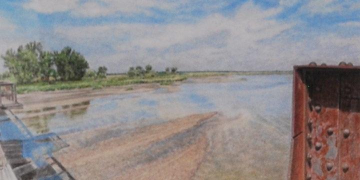 John Fronczak, Platte River, View SE from Ft. Kearny Railroad Trestle Walkway, Color Pencil on Illustration board, 2021