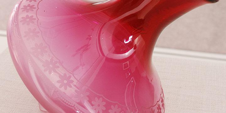 Nadine Saylor, Ruby Rocker Embroidery Vase, Handblown & Sandblasted Glass, 2020