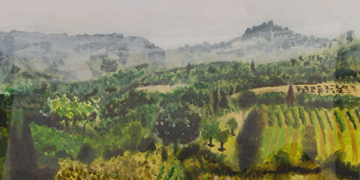 Sam Hayes, Green Fields, Acrylic, 2017