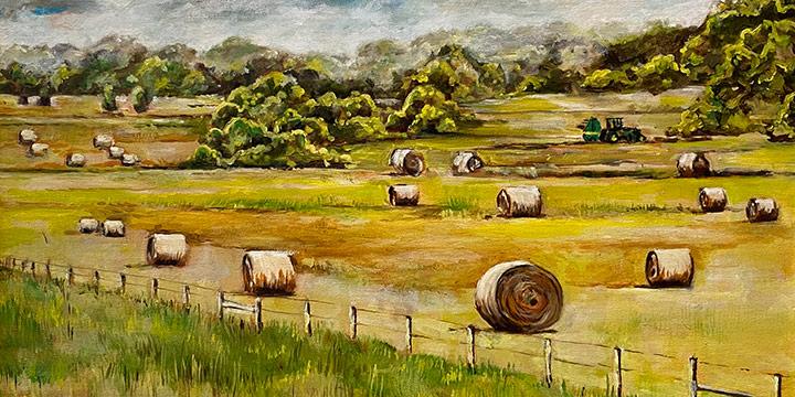 Doug Waterfield, Nebraska Landscape with Hay Bales, oil on canvas, 2020